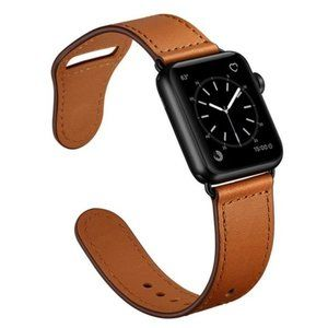 NEW Brown Genuine Leather For Apple Watch